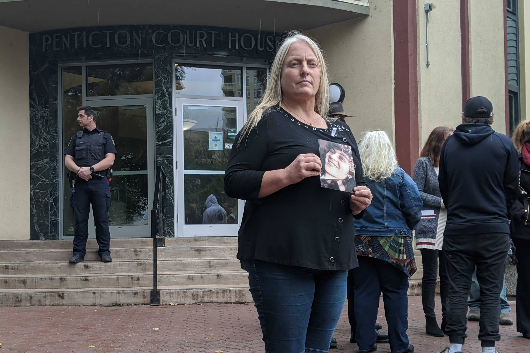 Lorrie Blackmore expressed her and her family's displeasure for what they see as a light sentence Sept. 23, 2020 in an emotional statement following Kiera Bourque being handed one year in prison for manslaughter in the 2017 death of Penticton's Devon Blackmore. (Jesse Day - Western News)