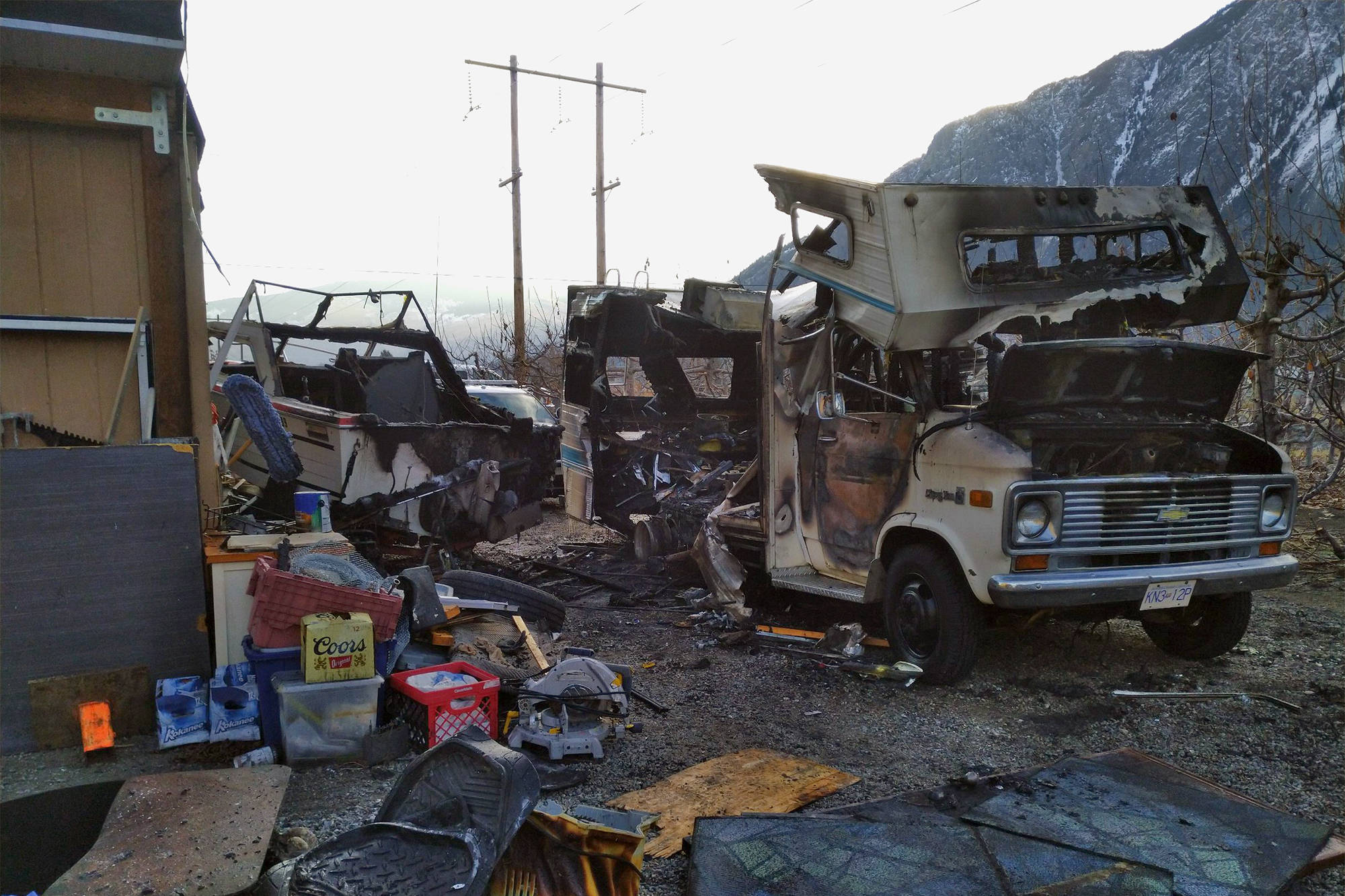 The aftermath of the 3 a.m. fire in Keremeos. (Keremeos Fire Department)